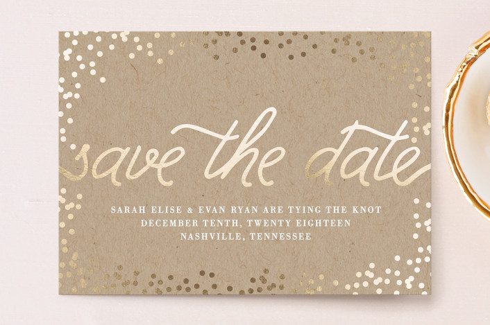 """""""Starlight"""" - Bohemian Save The Date Postcards in Kraft by Saltwater Designs."""