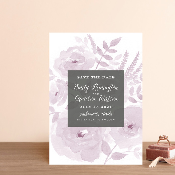 """Watercolor Floral"" - Save The Date Postcards in Lilac by Jill Means."
