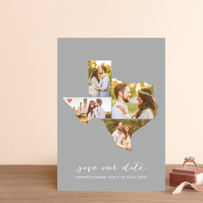 """""""Texas Love Location"""" - Save The Date Postcards in Wedding Dress by Heather Buchma."""