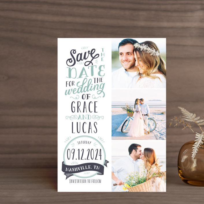 """Serendipitous"" - Rustic Save The Date Postcards in Pool by Sarah Brown."