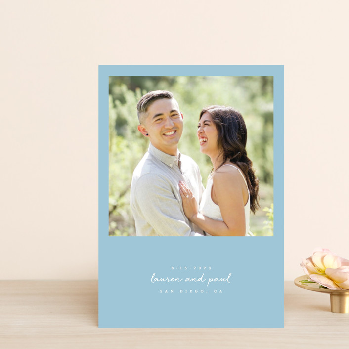 """""""Pure Simplicity"""" - Save The Date Postcards in Noir by Roxy Cervantes."""