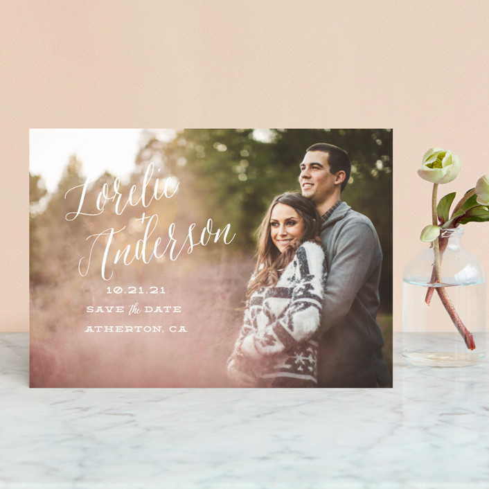 """""""Watercolor Heart"""" - Bohemian Save The Date Postcards in Sunrise by Sarah Curry."""