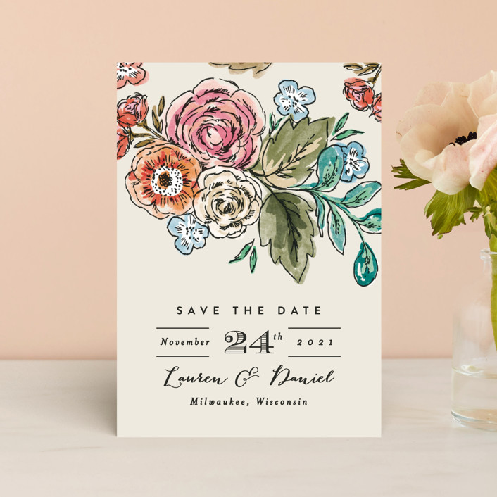 """Dramatic Floral Date"" - Save The Date Postcards in Daytime Brights by Alethea and Ruth."