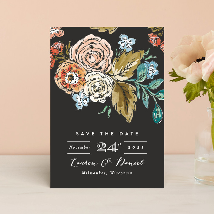 """""""Dramatic Floral Date"""" - Save The Date Postcards in Midnight Charcoal by Alethea and Ruth."""