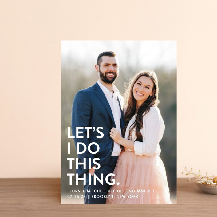 """Let's I Do This Photo"" - Save The Date Postcards in Snow by Ellis."