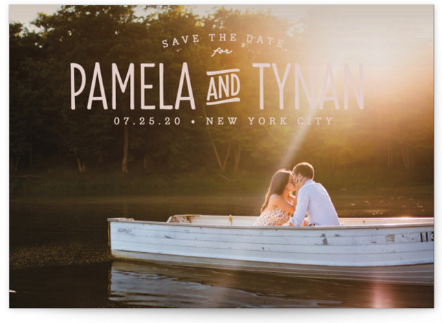 This is a landscape bohemian, pink Save the Dates by carly reed walker called Perfect Together with Standard printing on Signature in Postcard Flat Card format. A classic, timeless design highlighting your names and photo