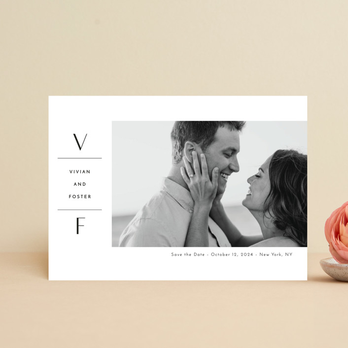 """Initial Attraction"" - Save The Date Postcards in Ebony by Kaydi Bishop."