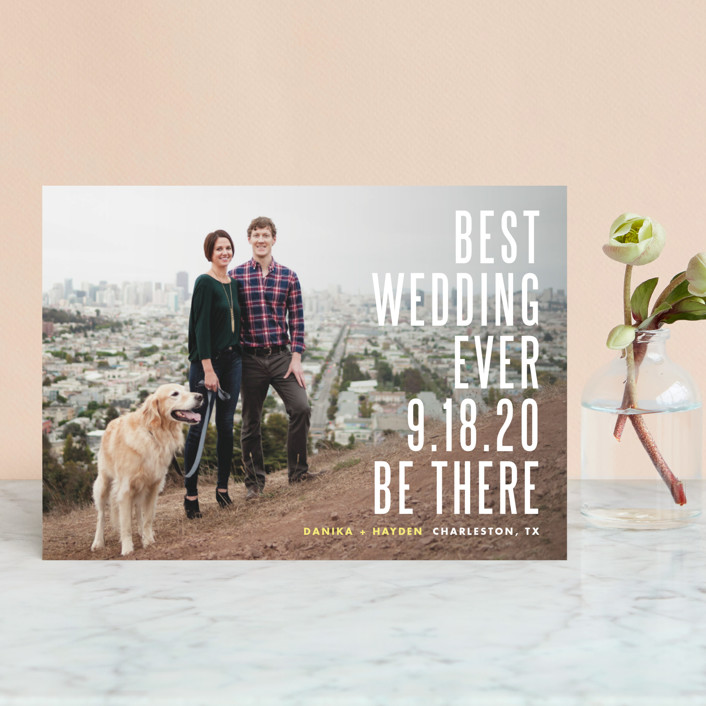 """Be There"" - Modern Save The Date Postcards in Buttercup by Lauren Chism."