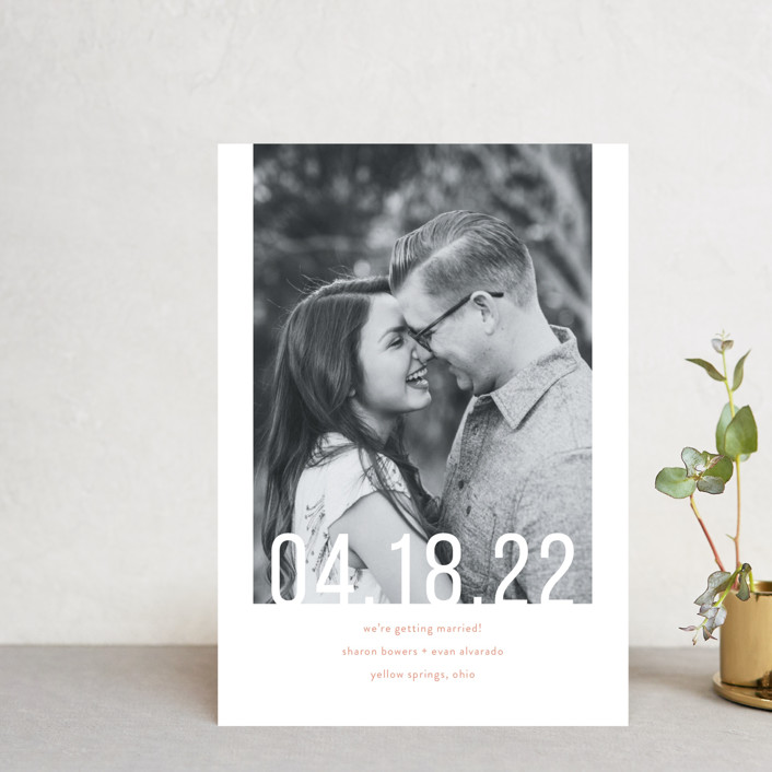 """Date Check"" - Save The Date Postcards in Cement by Up Up Creative."