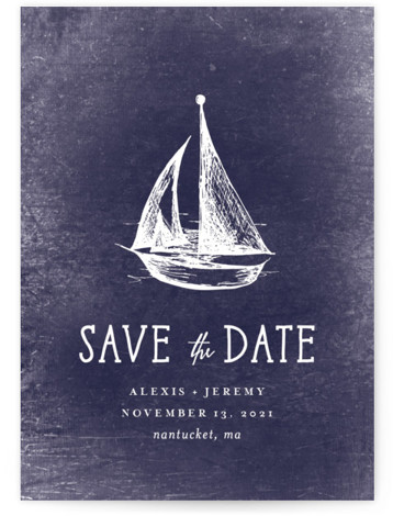 This is a portrait preppy, blue Save the Dates by Rebecca Bowen called Nautical with Standard printing on Signature in Postcard Flat Card format. Getting ready for the regatta