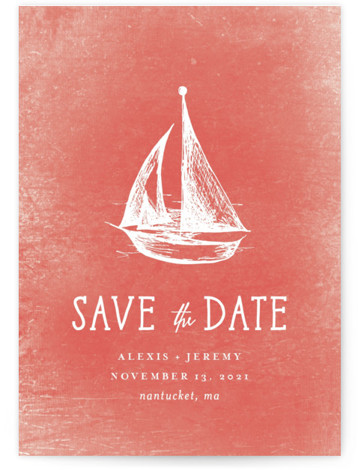 This is a portrait preppy, pink Save the Dates by Rebecca Bowen called Nautical with Standard printing on Signature in Postcard Flat Card format. Getting ready for the regatta