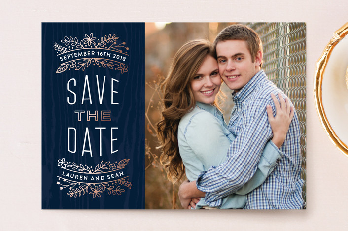 """""""Into the Woods"""" - Save The Date Postcards in Navy by Hooray Creative."""