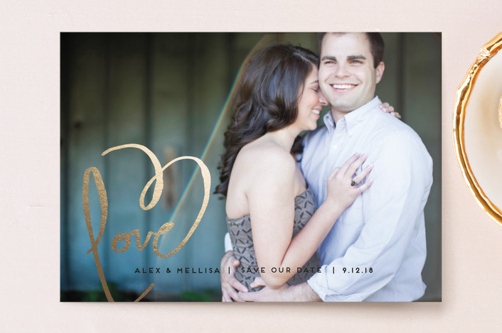 """""""Love + Heart"""" - Elegant, Full-Bleed Photo Save The Date Postcards in Goldenrod by Kelly Ventura."""