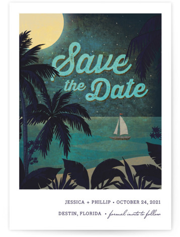 This is a portrait illustrative, blue Save the Dates by Rebecca Bowen called At Dusk with Standard printing on Signature in Postcard Flat Card format. This save the date is on the beach under the stars.