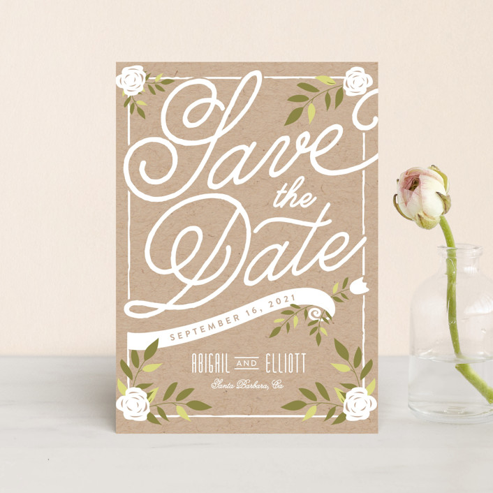 """Blushing"" - Rustic Save The Date Postcards in Sapphire by Leah Bisch."