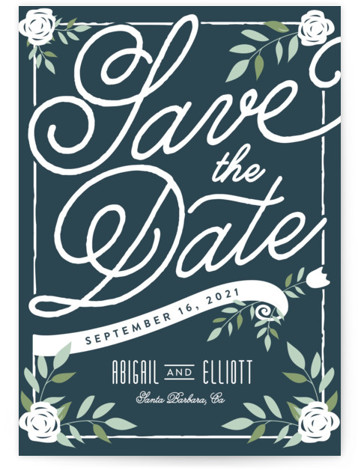 This is a portrait rustic, blue Save the Dates by Leah Bisch called Blushing with Standard printing on Signature in Postcard Flat Card format. Pretty florals and script set the tone for an elegant affair.