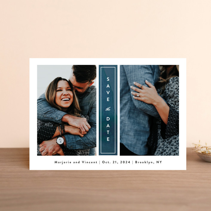 """Romantic Columns"" - Save The Date Postcards in Dusty by Jessica Ogden."