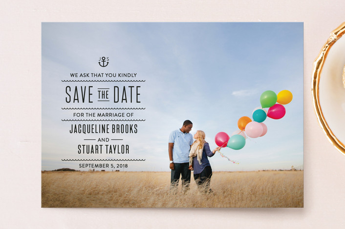 """""""Tie The Knots Nautical"""" - Full-Bleed Photo, Destination Save The Date Postcards in Ink by Maddy Hague."""