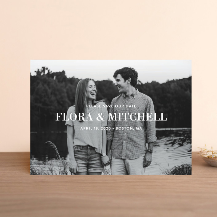 """Subtle Statement"" - Modern Save The Date Postcards in Snow by Sandra Picco Design."
