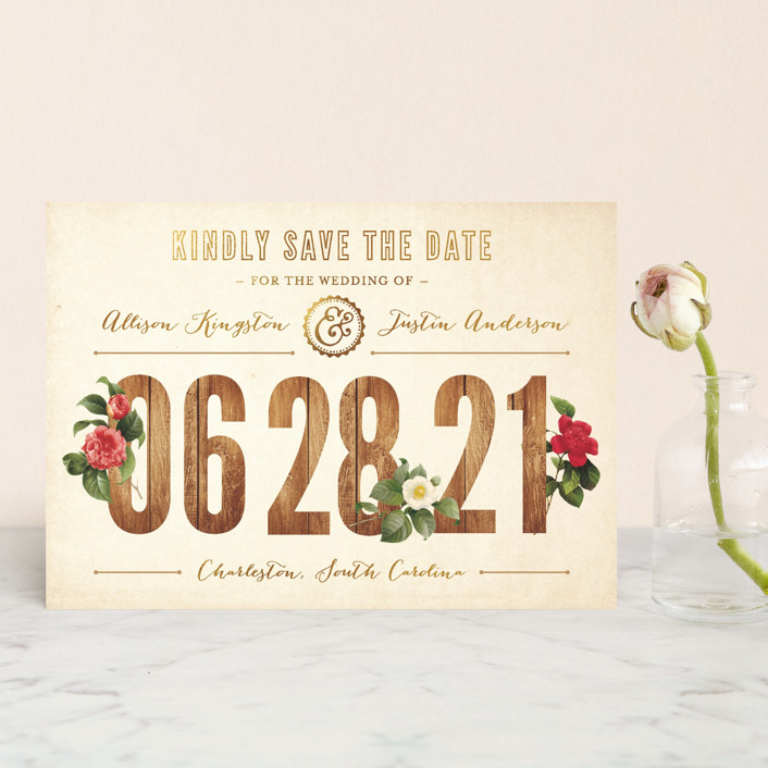 """""""Derby"""" - Rustic Save The Date Postcards in Wood by Paige Rothhaar."""