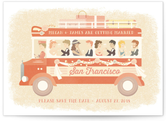 This is a landscape destination, hand drawn, vintage, whimsical, yellow Save the Dates by Lori Wemple called Destination Wedding with Standard printing on Signature in Postcard Flat Card format. Jump on board and join the wedding. The location can be ...