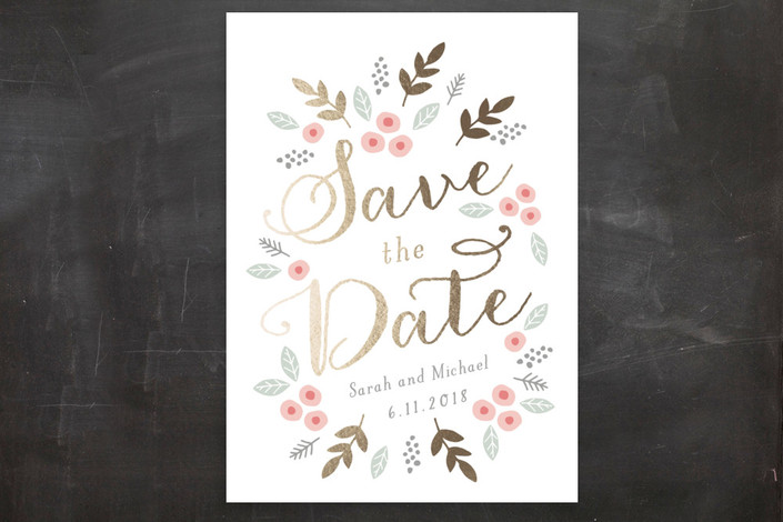 """Flower Garden"" - Floral & Botanical, Whimsical & Funny Save The Date Postcards in Peony by August and Oak."