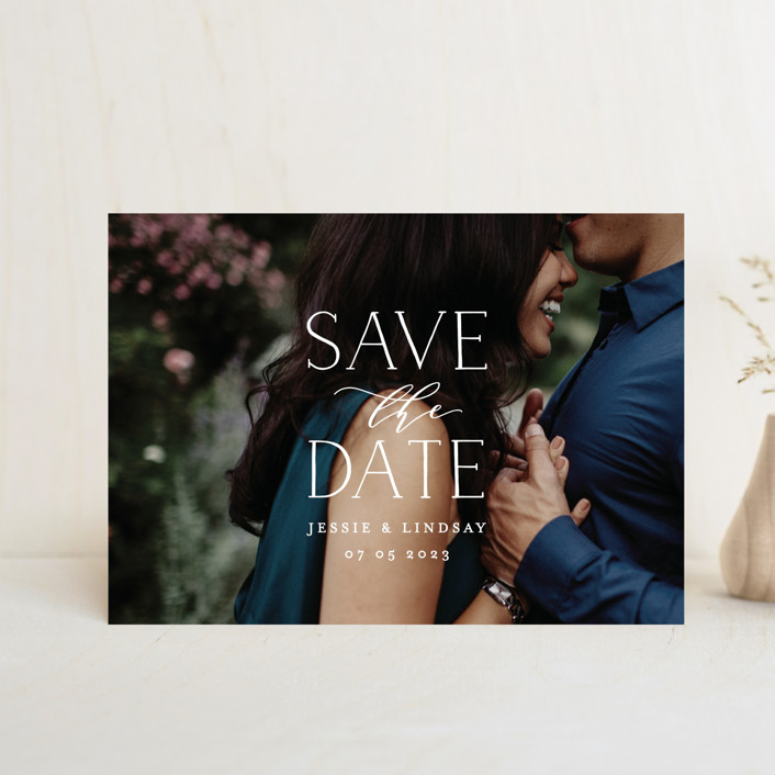"""covered"" - Save The Date Postcards in White by Phrosne Ras."