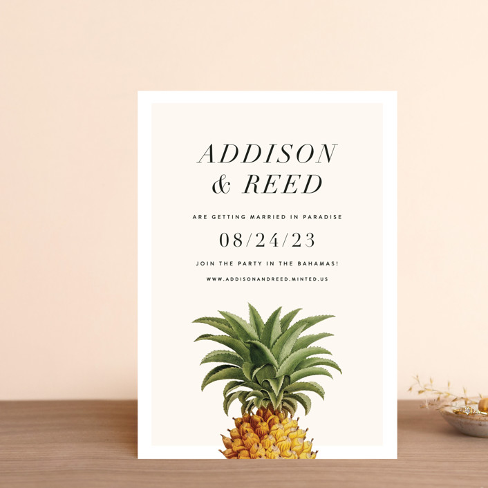"""""""Party in Paradise"""" - Preppy Save The Date Postcards in Pineapple by Fig and Cotton."""
