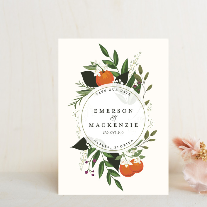 """""""Orange Blossoms"""" - Save The Date Postcards in Pearl by Susan Moyal."""