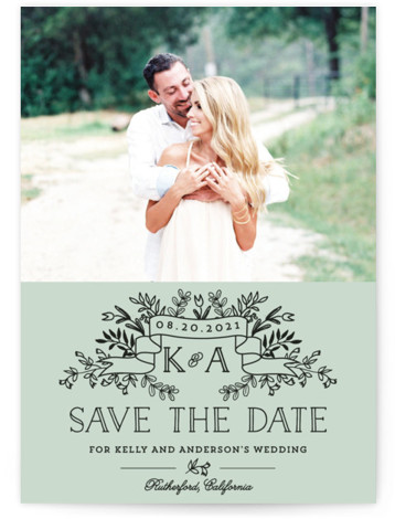 This is a portrait rustic, green Save the Dates by Chris Griffith called Wedding Bouquet with Standard printing on Signature in Postcard Flat Card format. Smart and chic, our indie designed postcards let you announce your wedding date while saving ...