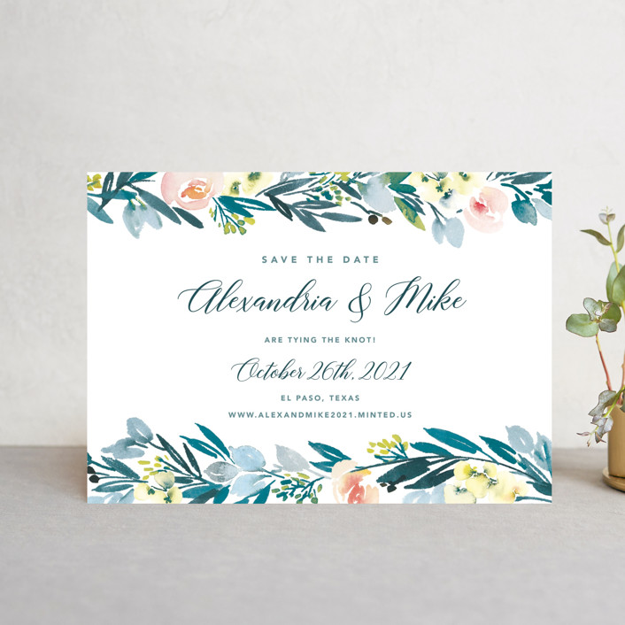 """Eucalyptus Wreath"" - Save The Date Postcards in Eucalyptus by Yao Cheng Design."