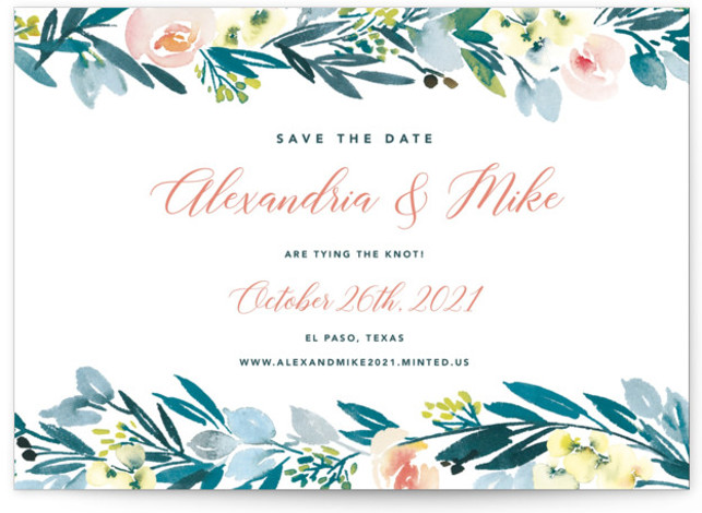 This is a botanical, floral, blue Save the Dates by Yao Cheng Design called Eucalyptus Wreath with Standard printing on Signature in Postcard Flat Card format. Painted in a soft watercolor hand, this eucalyptus wreath is elegant and modern. Its ...