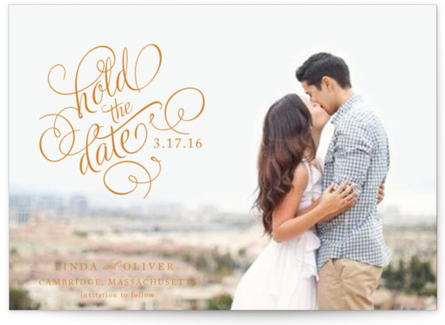 This is a landscape classical, formal, full bleed photo, orange Save the Dates by Alston Wise called Hold the Date with Standard printing on Signature in Postcard Flat Card format. Smart and chic, our indie designed postcards let you announce ...