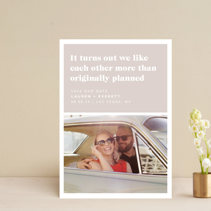 """""""Original Plan"""" - Funny Save The Date Postcards in Nude by Caitlin Considine."""