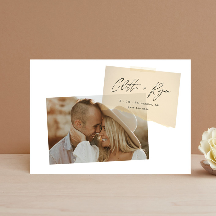 """Keepsake"" - Modern Save The Date Postcards in Blush by Morgan Kendall."