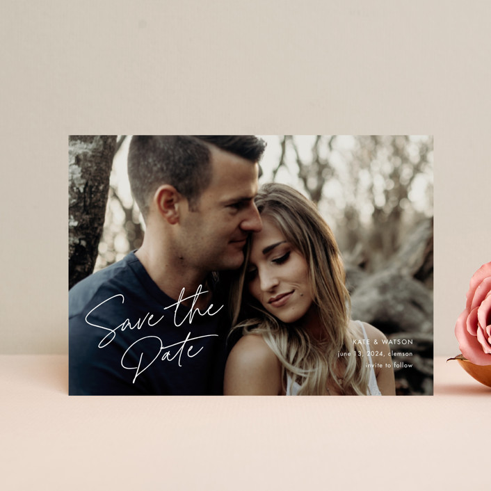 """Heartfelt"" - Save The Date Postcards in Canvas by Stacey Meacham."