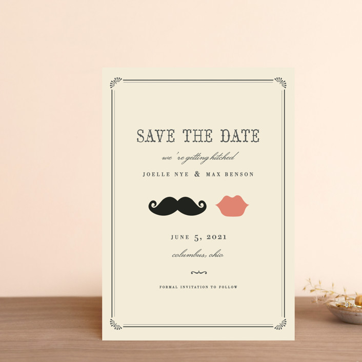 """Stache + Kiss"" - Whimsical & Funny, Vintage Save The Date Postcards in Crème by Penelope Poppy."