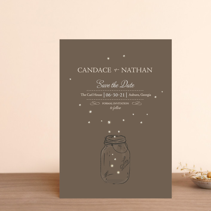 """Fireflies"" - Rustic Save The Date Postcards in Earth by cadence paige design."