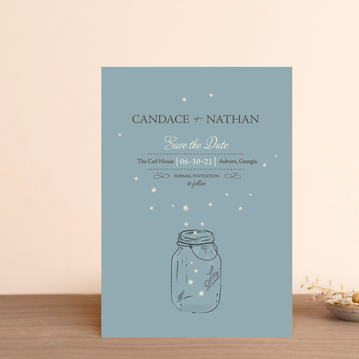 """Fireflies"" - Rustic Save The Date Postcards in Cornflower by Paige Rothhaar."