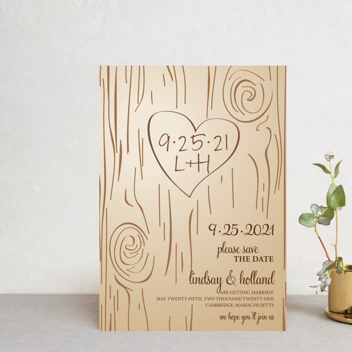 """Fall Carving"" - Rustic Save The Date Postcards in Woodgrain by Amanda Joy."