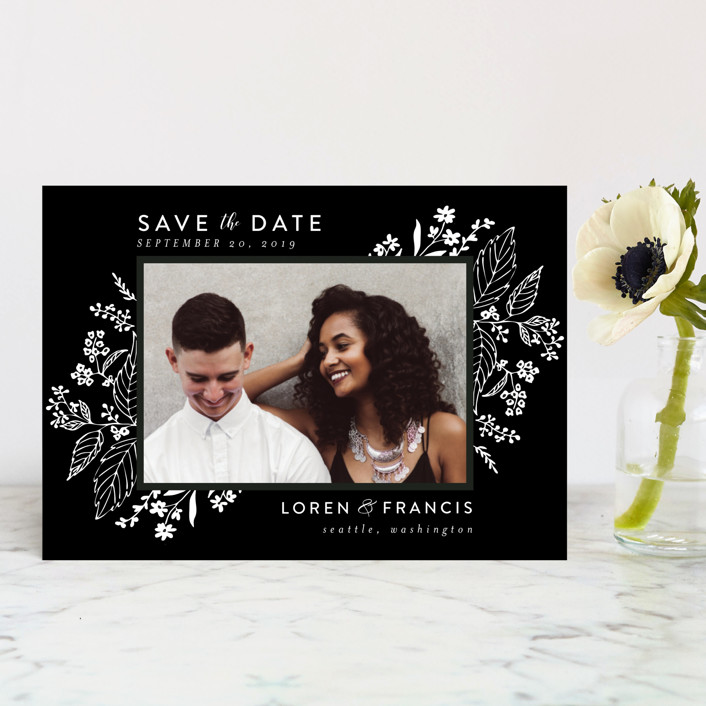 """Tapestry"" - Save The Date Postcards in Ebony by Chris Griffith."