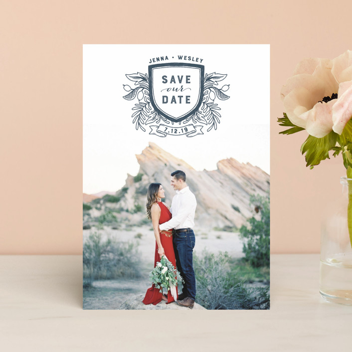 """""""Poetic Crest"""" - Rustic Save The Date Postcards in Slate by Paper Raven Co.."""