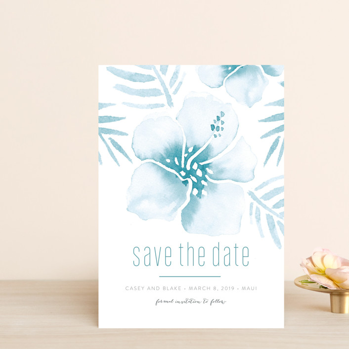 """""""Tropical Hibiscus"""" - Save The Date Postcards in La Mer by Smudge Design."""