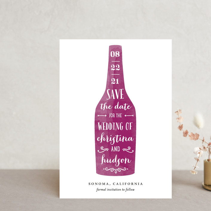 """Winery"" - Save The Date Postcards in Merlot by Chryssi Tsoupanarias."