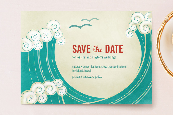 """""""BLOCK PRINT WAVES"""" - Modern, Whimsical & Funny Save The Date Postcards in Teal by bumble ink."""