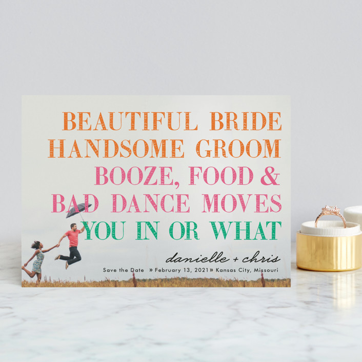 """You in or What"" - Full-Bleed Photo, Whimsical & Funny Save The Date Postcards in Tangerine by hi-lighter inc.."