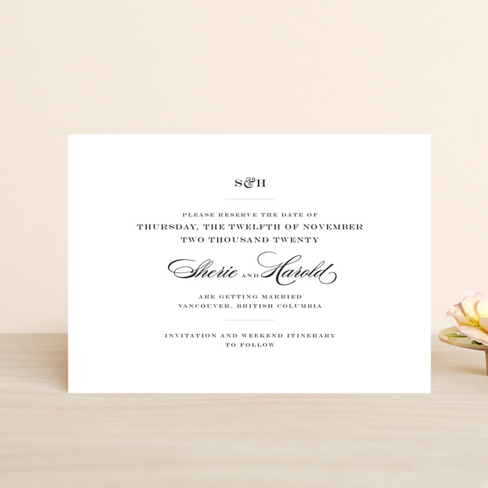 """""""Charming Go Lightly"""" - Save The Date Postcards in Feather by danielleb."""