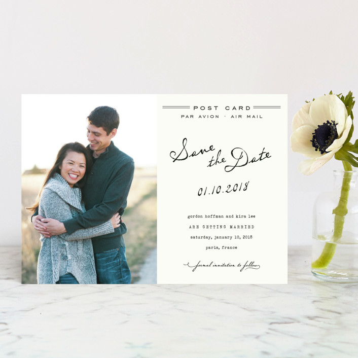 """""""Airmail"""" - Whimsical & Funny, Vintage Save The Date Postcards in Ivory by annie clark."""