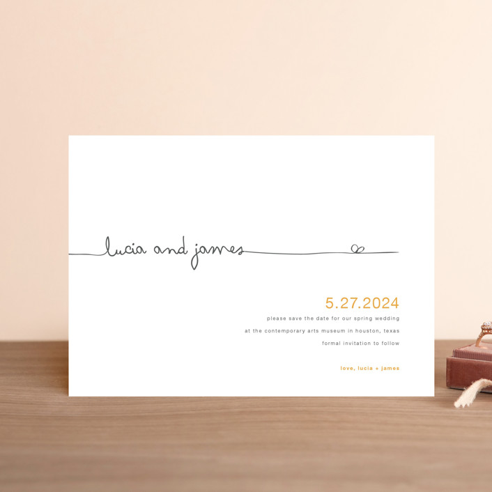 """The Happy Couple"" - Modern, Whimsical & Funny Save The Date Postcards in Sunflower by R studio."
