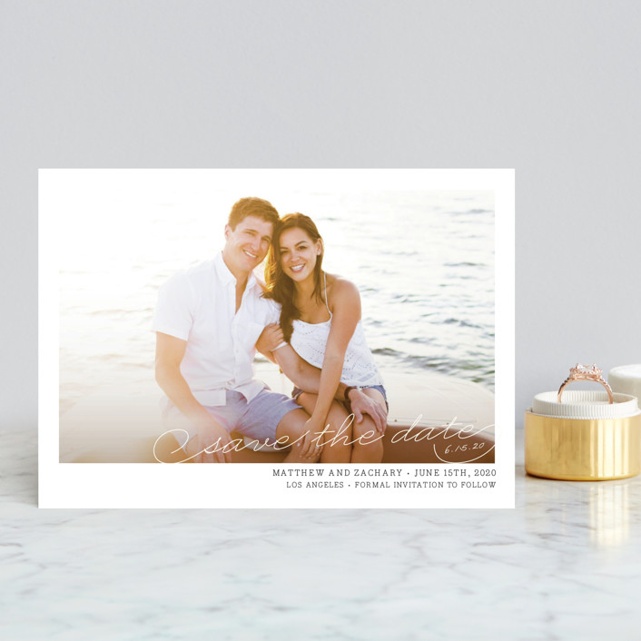 """Vintage Photograph"" - Simple, Vintage Save The Date Postcards in Antique White by annie clark."